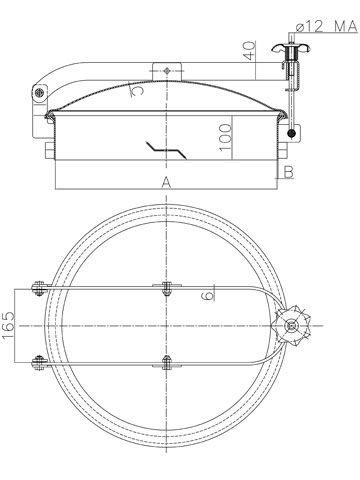 Búvónyílás cementkádra kerek 420 - 600 mm kifelé nyíló (D15 C)