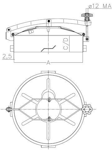 Búvónyílás cementkádra kerek 385 - 600 mm kifelé nyíló (D7 C)