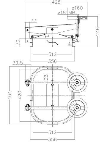 Búvónyílás cementkádra négyszögletes 420 x 310 mm kifelé nyíló (B10)