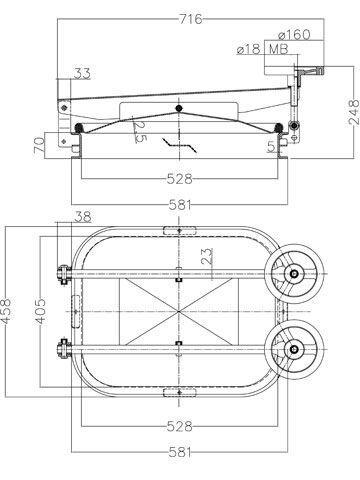 Búvónyílás cementkádra négyszögletes 530 x 410 mm kifelé nyíló (B11)