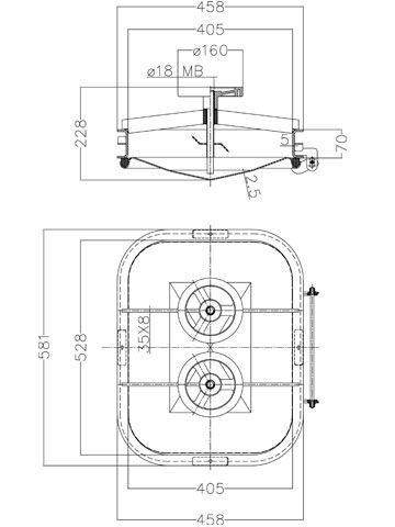 Búvónyílás cementkádra négyszögletes 530 x 410 mm befelé nyíló (B15)