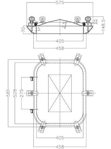 Búvónyílás cementkádra négyszögletes 530 x 410 mm kifelé nyíló (B18)