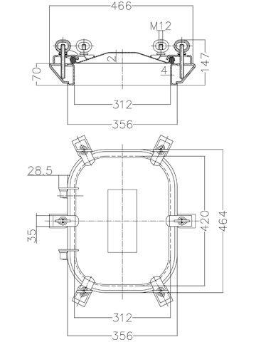 Búvónyílás cementkádra négyszögletes 420 x 310 mm kifelé nyíló (B20)
