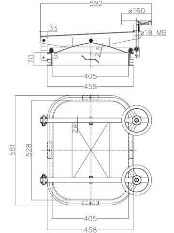 Búvónyílás cementkádra négyszögletes 530 x 410 mm kifelé nyíló (B8)