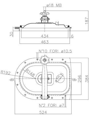 Búvónyílás fahordóra fél ovál 430x260 mm kifelenyíló (A22)