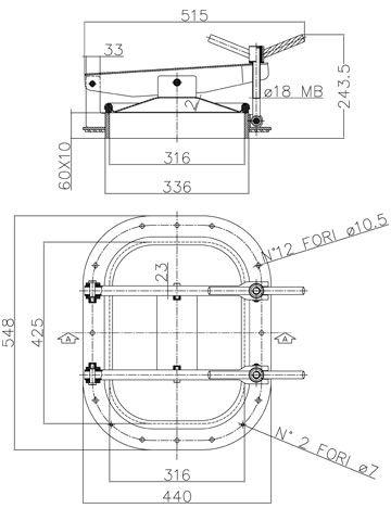 Búvónyílás fahordóra négyszögletes 420 x 310 mm kifelenyíló (B22)