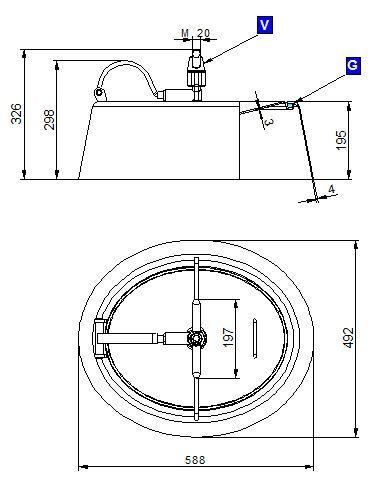 Búvónyílás alsó ovális 588x492 mm befelenyíló (191)