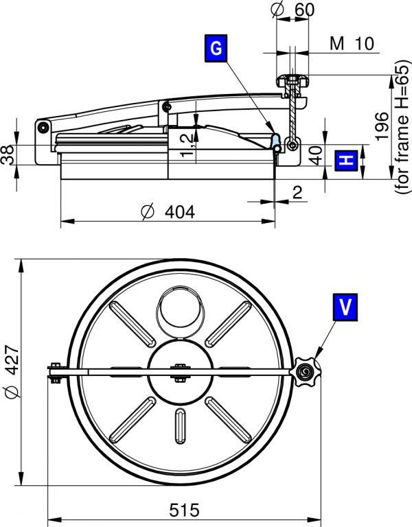 Búvónyílás felső kerek 404 mm kifelenyíló (250)