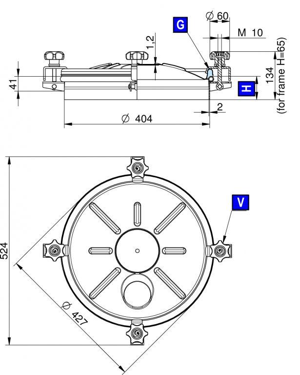 Búvónyílás felső kerek 404 mm kifelenyíló (255)