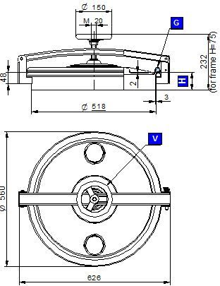 Búvónyílás felső kerek 520 mm kifelenyíló (270)