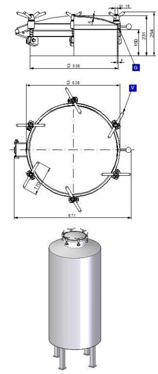 Búvónyílás felső kerek 508 mm kifelenyíló (500/P)