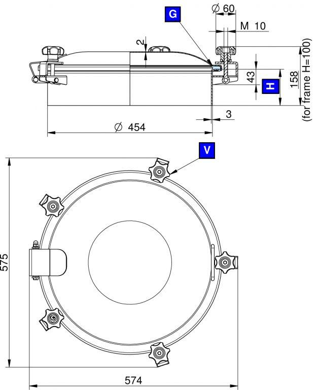 Búvónyílás felső kerek 454 mm kifelenyíló (5V/450)