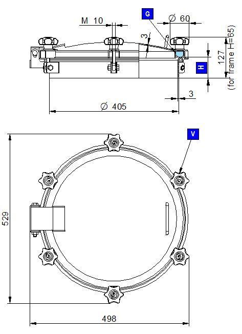 Búvónyílás felső kerek 404 mm kifelenyíló (6V/250)