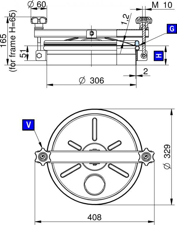 Búvónyílás alsó kerek 306 mm kifelé nyíló (215)