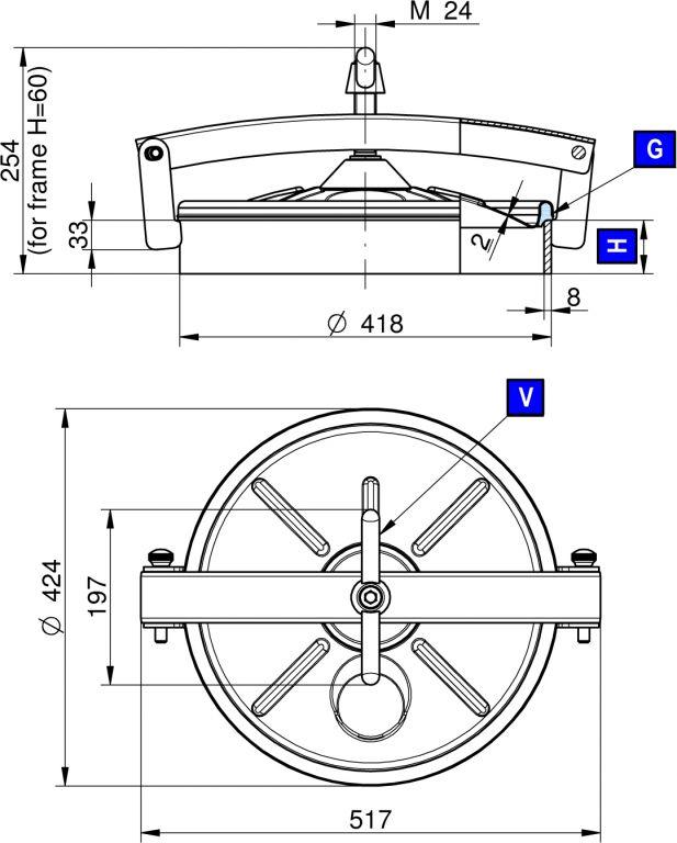 Búvónyílás alsó kerek 418 mm kifelé nyíló (220)