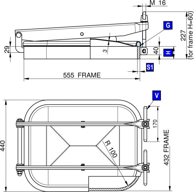 Búvónyílás alsó négyszögletes 555 x 432 mm kifelé nyíló (1600)