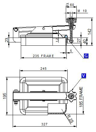 Búvónyílás alsó négyszögletes 235x185 mm kifelenyíló (295)