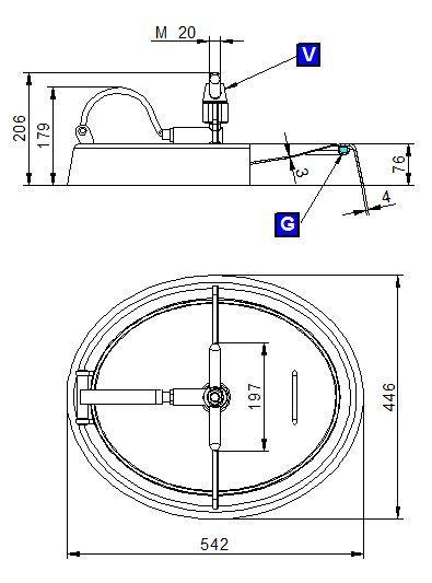 Búvónyílás alsó ovális 542x446 mm befelenyíló (190)