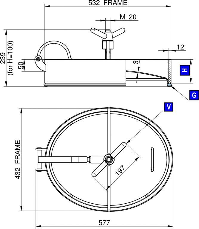 Búvónyílás alsó ovális 532 x 432 mm befelé nyíló (200/LZD)