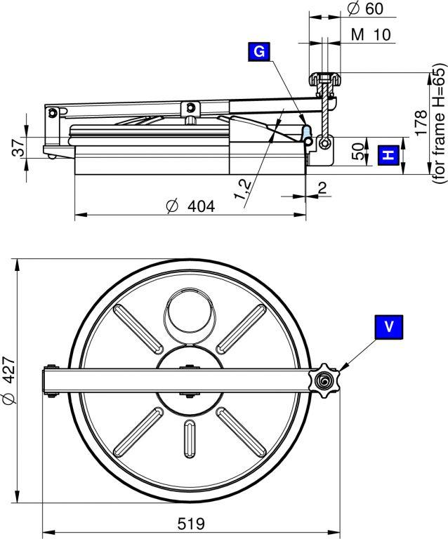 Búvónyílás felső kerek 404 mm kifelenyíló (N/250)