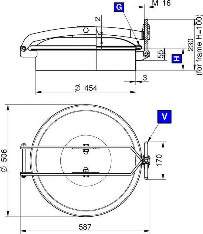 Búvónyílás felső kerek 454 mm kifelenyíló (T/450)