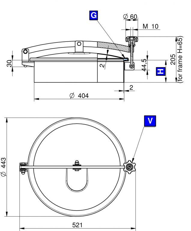 Búvónyílás felső kerek 404 mm kifelenyíló (T1/400)
