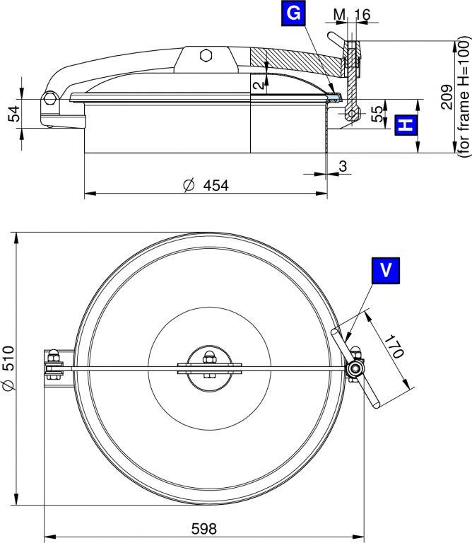 Búvónyílás felső kerek 454 mm kifelenyíló (T1/450)