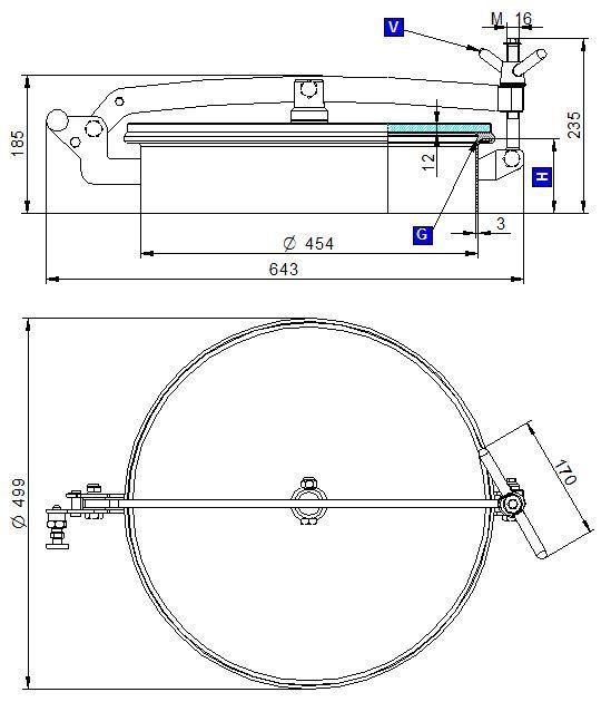 Búvónyílás felső kerek 454 mm kifelenyíló (T1/G450)