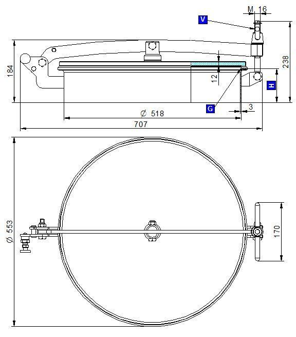 Búvónyílás felső kerek 518 mm kifelenyíló T1/G500