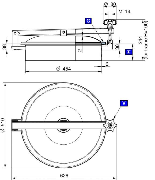 Búvónyílás felső kerek 454 mm kifelenyíló (TV/450)