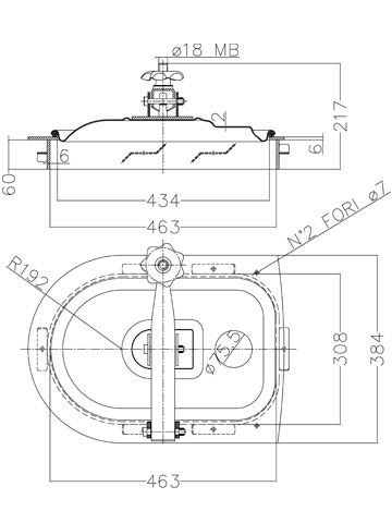 Búvónyílás cementkádra félovál 430x260 mm kifelenyíló (A23)