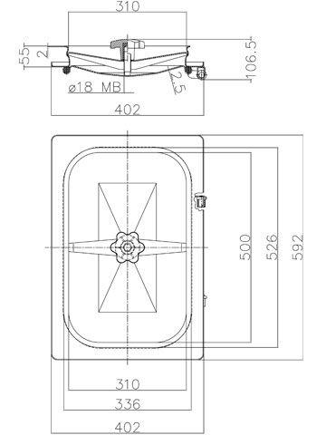 Búvónyílás cementkádra négyszögletes 500x310 mm befelenyíló (B16)