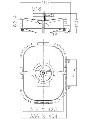 Búvónyílás cementkádra négyszögletes 420x310 mm befelenyíló (B17)