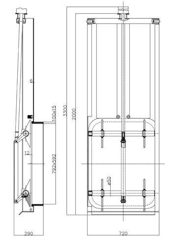 Búvónyílás guillotine nyitású 800x600 mm (G2)