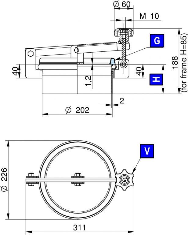 Búvónyílás felső kerek 202 mm kifelenyíló (230)