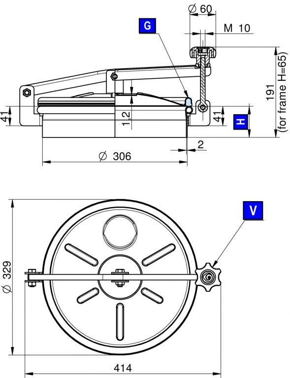 Búvónyílás felső kerek 306 mm kifelenyíló (240)