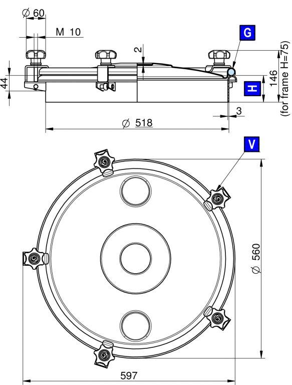 Búvónyílás felső kerek 520 mm kifelenyíló (275)