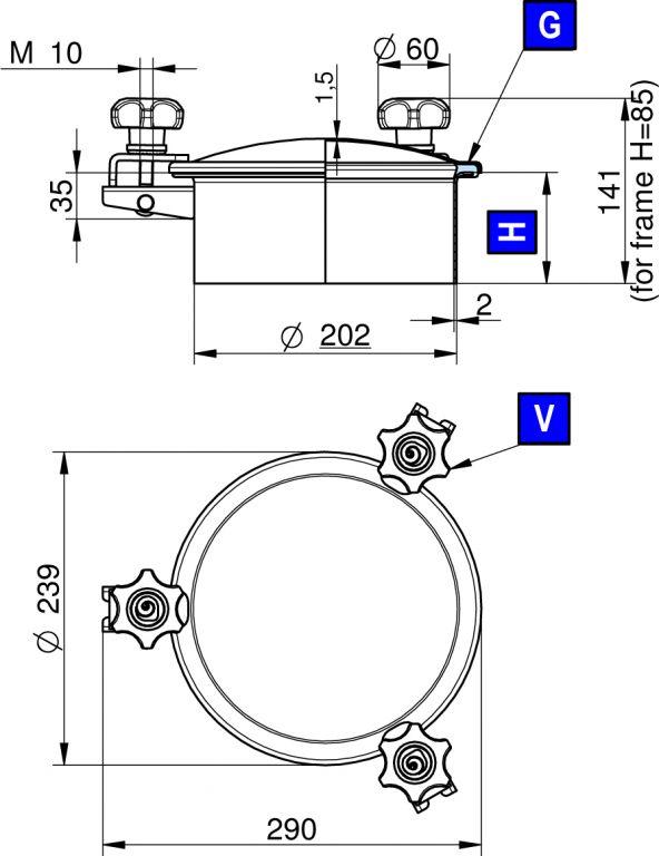 Búvónyílás felső kerek 202 mm kifelenyíló (3V/200)