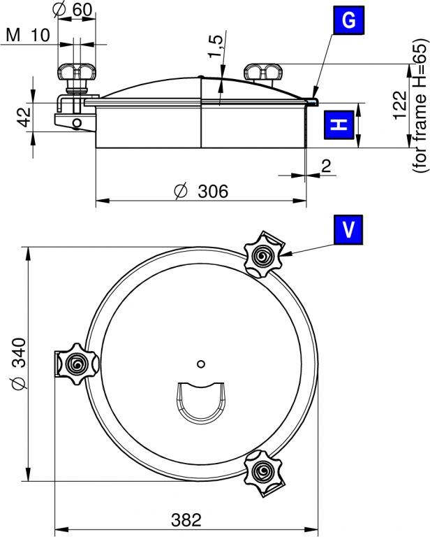 Búvónyílás felső kerek 306 mm kifelenyíló (3V/300)