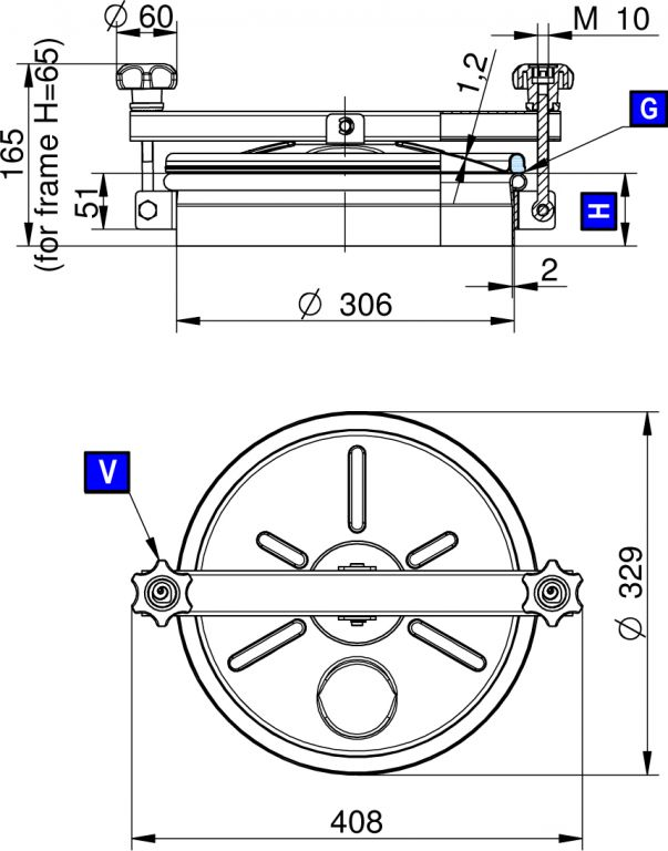 Búvónyílás alsó kerek 306 mm kifelenyíló (215)