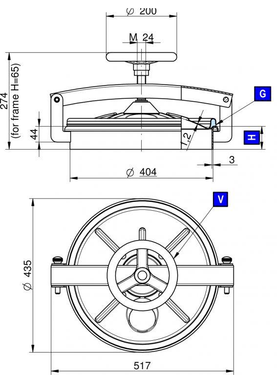Búvónyílás alsó kerek 404 mm kifelenyíló (220/E)
