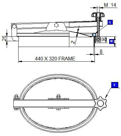 Búvónyílás alsó ovális 440 x 320 mm kifelé nyíló (174/AE)