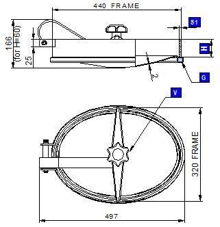 Búvónyílás alsó ovális 440x320 mm befelenyíló (180)