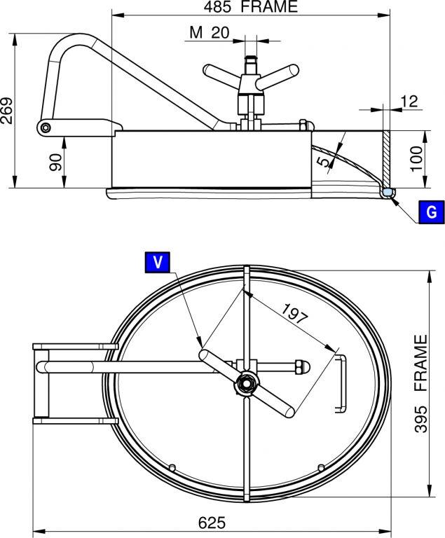 Búvónyílás alsó ovális, zsanérral 485 x 395 mm befelé nyíló (200PES)