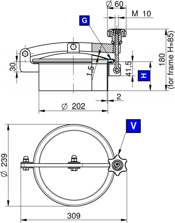 Búvónyílás felső kerek 202 mm kifelenyíló (N/230)