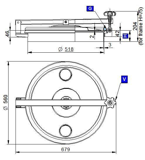Búvónyílás felső kerek 520 mm kifelenyíló (N/270)