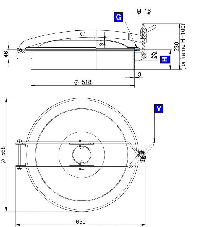 Búvónyílás felső kerek 520 mm kifelenyíló (T/500)