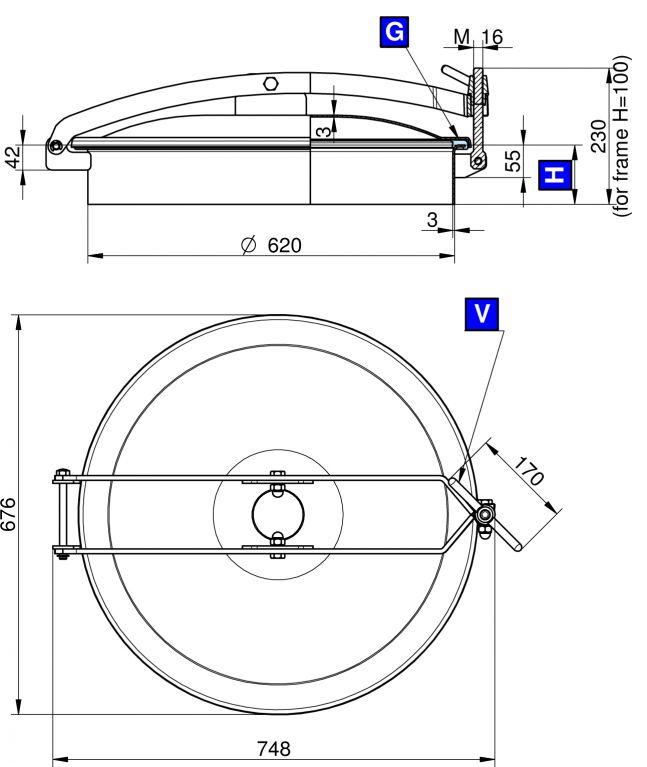Búvónyílás felső kerek 620 mm kifelenyíló (T/600)