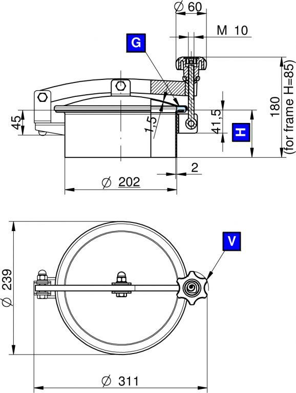 Búvónyílás felső kerek 202 mm kifelenyíló (T1/200)