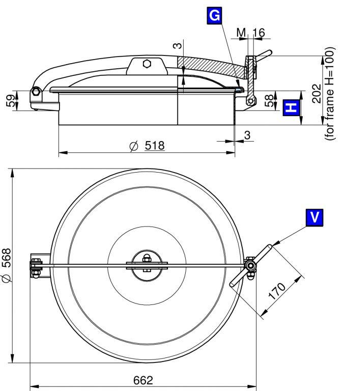 Búvónyílás felső kerek 520 mm kifelenyíló (T1/500)